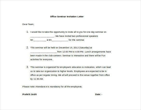 HR Invitation Letter Template - 26+ Free Word, PDF, Documents ...