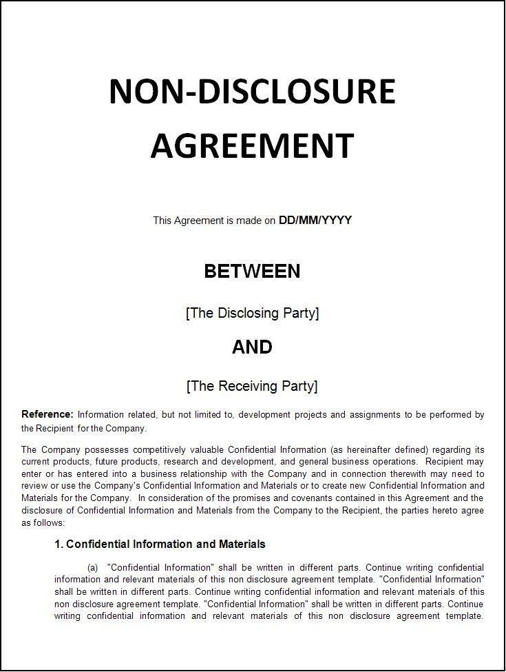 Confidentiality Agreement Template Free Printable Sample Non ...