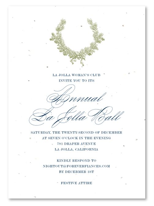 Holiday Gala Invitations on seeded paper ~ Oak Wreath by Green ...