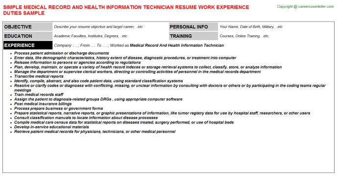 Medical Record And Health Information Technician Job Title Docs