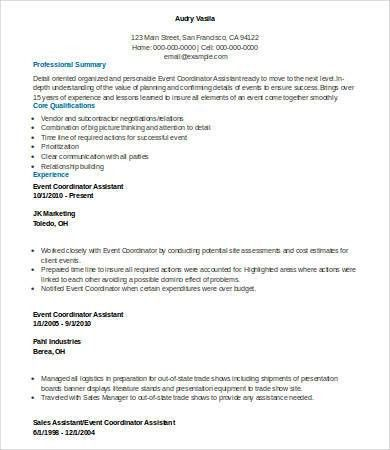 6+ Event Planner Resumes - Free Sample, Example, Format | Free ...