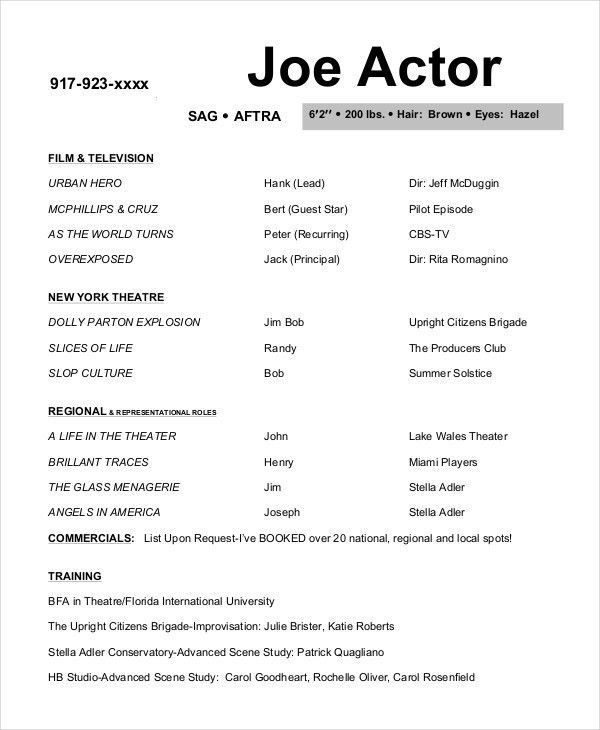 Actor Resume Template. Actor Resume Template Free Free Acting ...