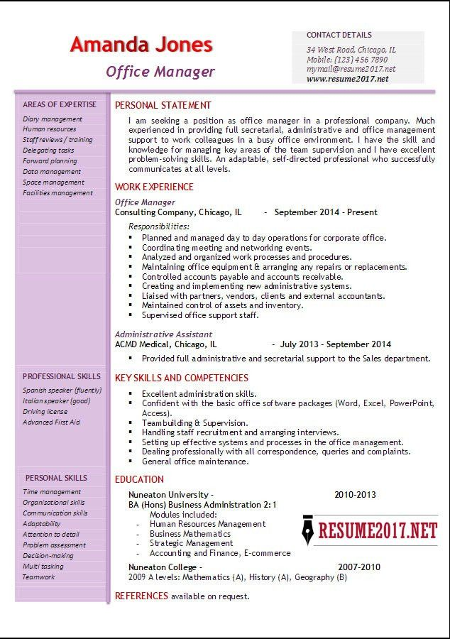 Office manager resume examples 2017 •