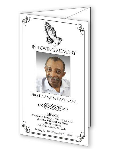 Funeral Program Templates | Trifold Praying Hands