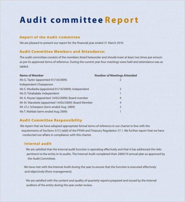 Sample Committee Report Template - 8+ Free Documents Download in ...