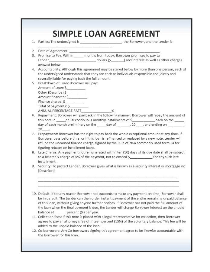 Download Simple Loan Agreement Template | PDF | RTF | Word ...