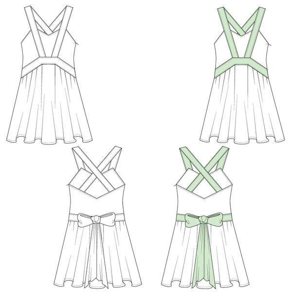 Women's Babydoll Dress Fashion Flat Template – Illustrator Stuff