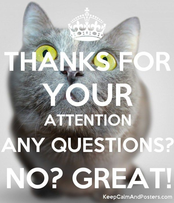 THANKS FOR YOUR ATTENTION ANY QUESTIONS? NO? GREAT! - Keep Calm ...
