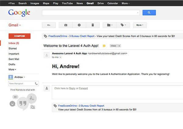 Sending Emails With Laravel 4 & Gmail