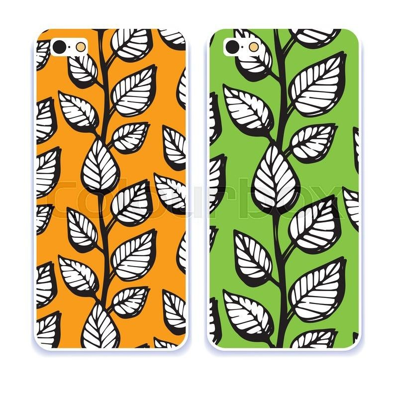 Phone case collection. Mobile phone cover back and screen, pattern ...