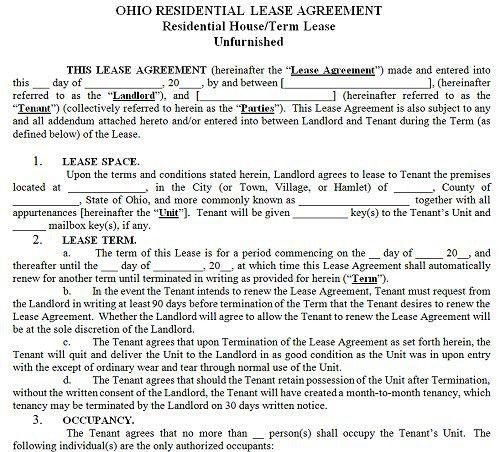 Ohio Residential Tenancy Lease Agreement Ohio Rental Agreement