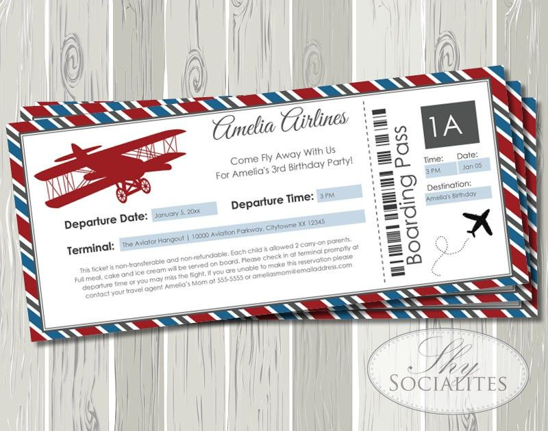 Vintage Airplane Boarding Pass Invitation — Shy Socialites