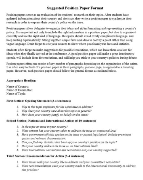 Position Paper Example] Sample White Paper Template 12 Free ...