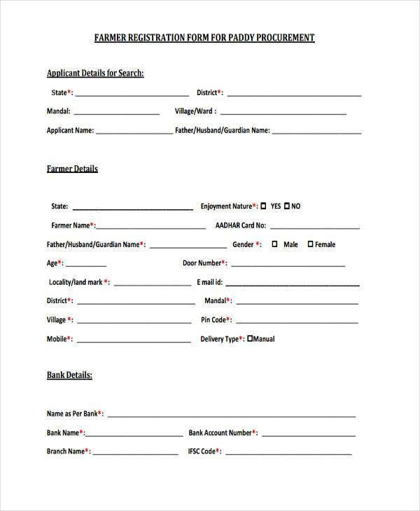 9+ Farmer Registration Form Samples - Free Sample, Example Format ...