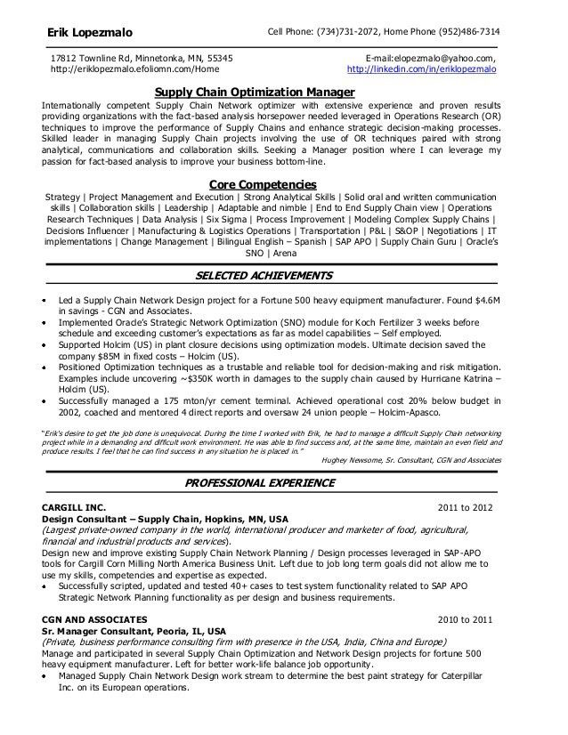 supply chain analyst resumes