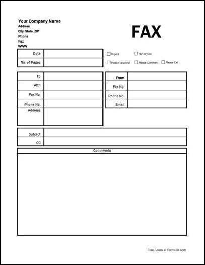 Free Detailed Easy Write Company Fax Cover Sheet from Formville