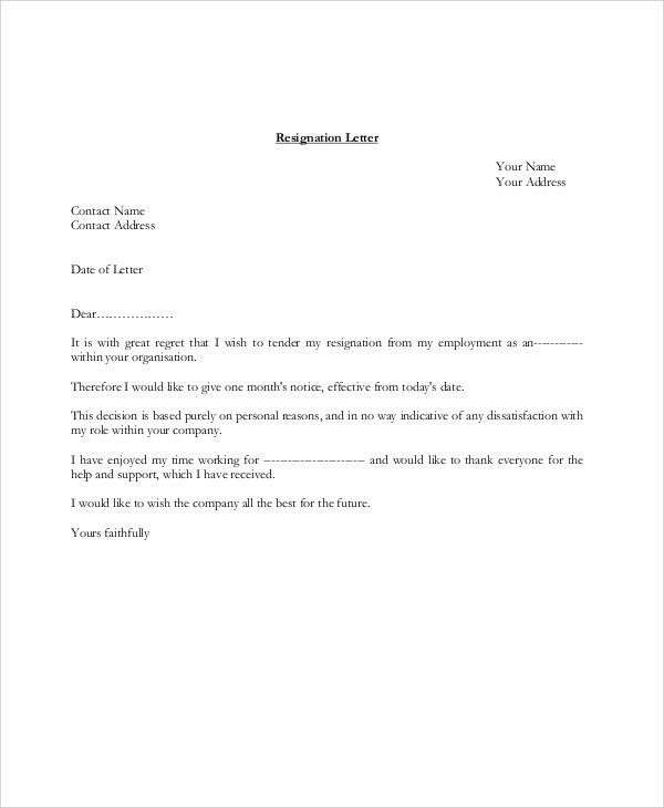 Sample Resignation Letter - 8+ Examples in PDF