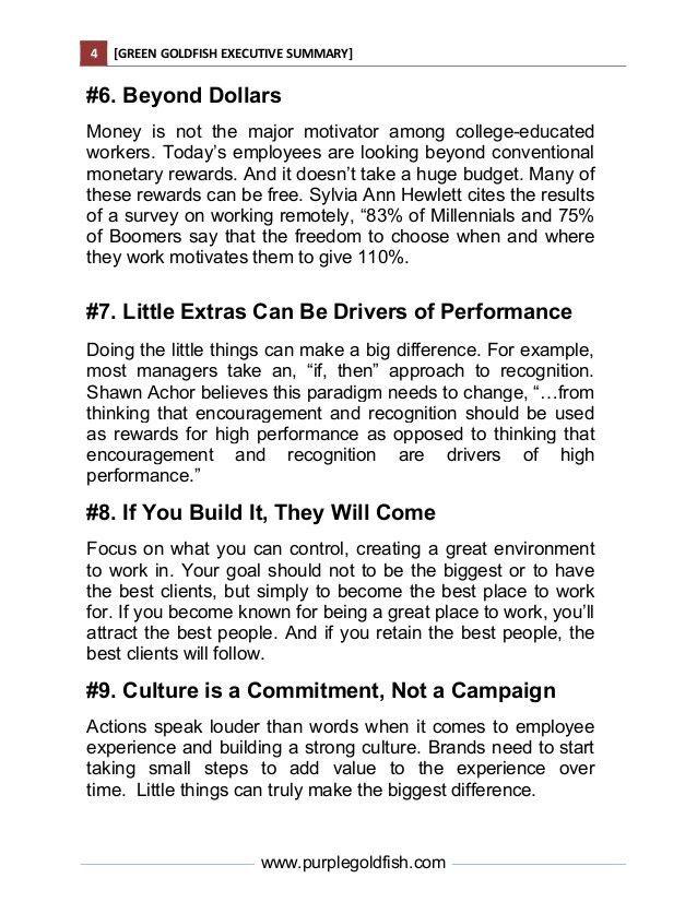 Green Goldfish Book Executive Summary