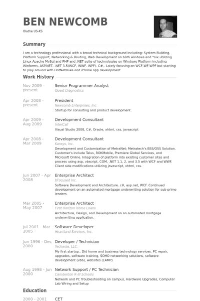 Senior Programmer Analyst Resume samples - VisualCV resume samples ...