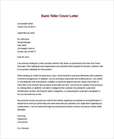 Bank Teller Cover Letter. How To Write An Application Letter Query ...
