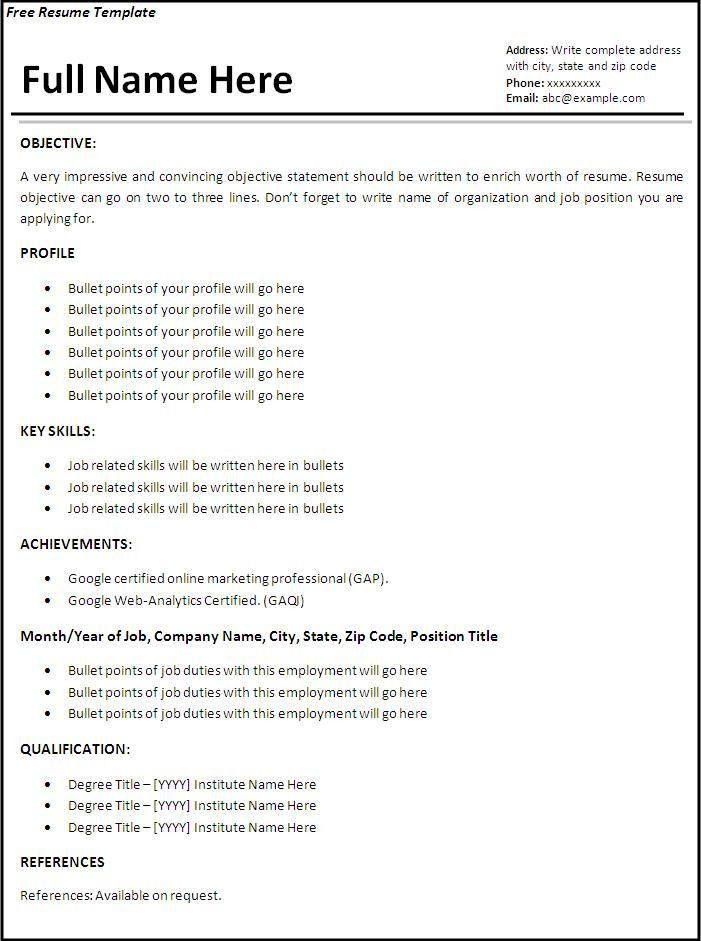 choose. how to write a simple resume format sample resume format ...