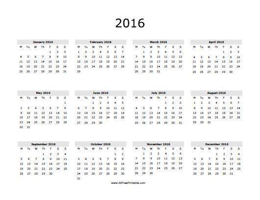 2016 Calendar in Spanish - Free Printable - AllFreePrintable.com