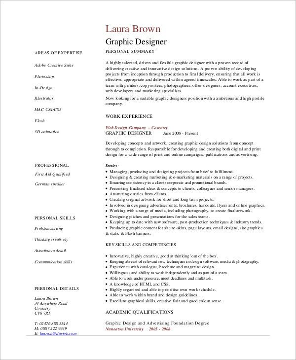 Sample Graphic Design Resume - 7+ Examples in PDF
