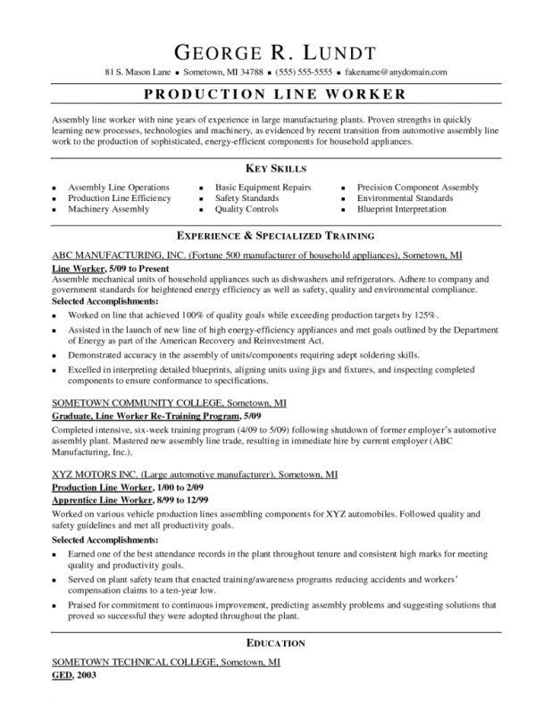 Charming Assembly Line Job Description For Resume 75 On Resume For ...