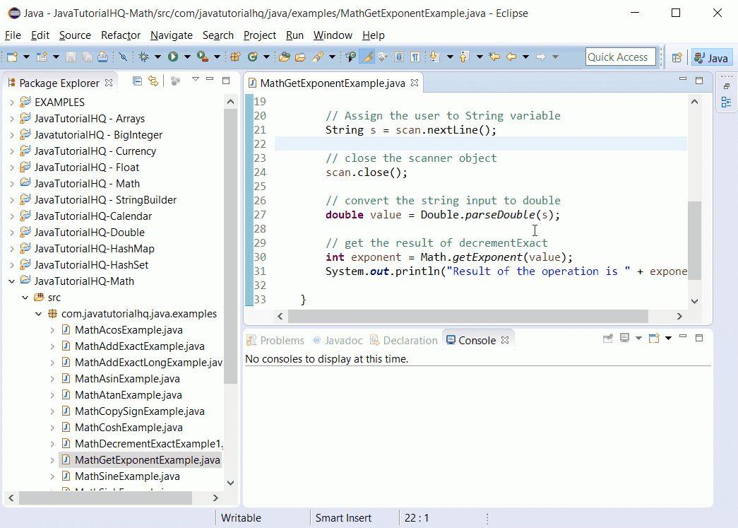 Java Math getExponent() method example
