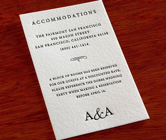 How to Word Your Accommodation Cards | letterpress wedding ...