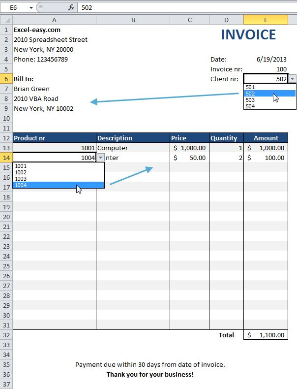 Invoice On Excel | free printable invoice