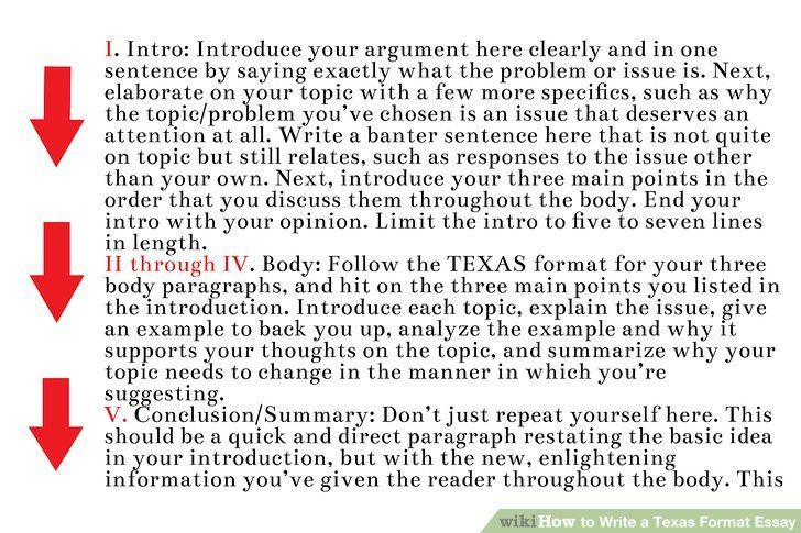 How to Write a Texas Format Essay (with Examples) - wikiHow