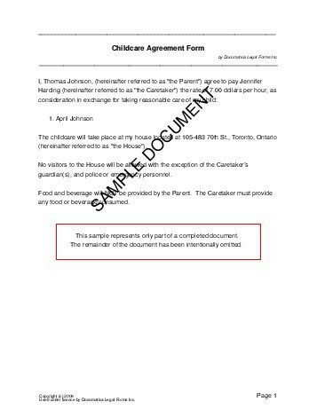 Free Child Care Agreement (Canada) - Legal Templates - Contracts ...