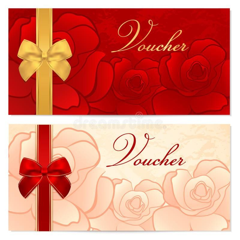 Gift Certificate, Voucher, Coupon Template. Bow, F Stock Image ...