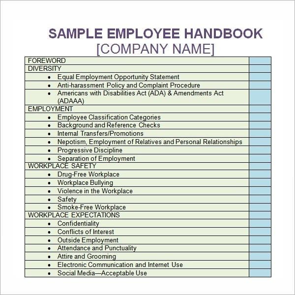 Personnel Handbook Template. employee training manual template ...