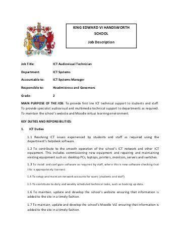 Assistant Head Teacher - Job Description - King Edward VII High ...