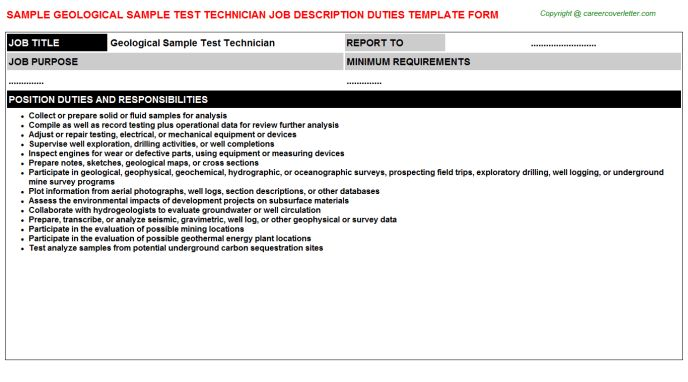 Geological Sample Test Technician Job Description