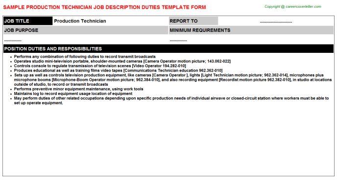 Production Technician Job Descriptions