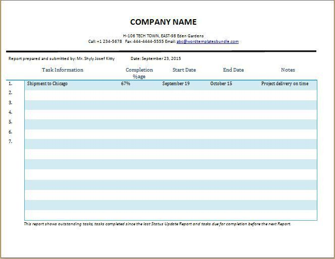Comprehensive Day to Day Work Status Report Template | Formal Word ...