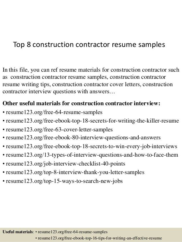 contractor resume topconstruction contractor resume samples ...
