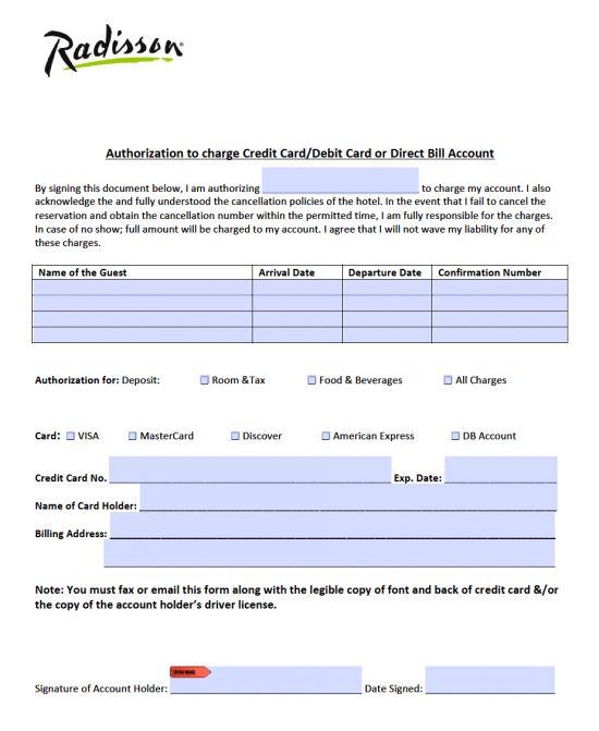 Free Radisson Hotel Credit Card Authorization Form - PDF