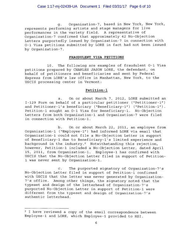 USA v. Charles Jason LORE No. 17-02439 (S.D. NY March 31, 2017) Crimi…