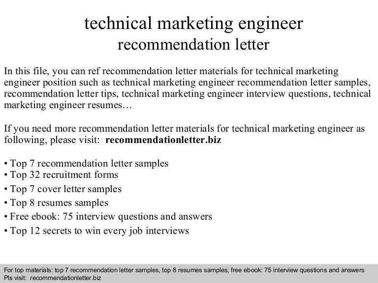 Technical marketing engineer recommendation letter
