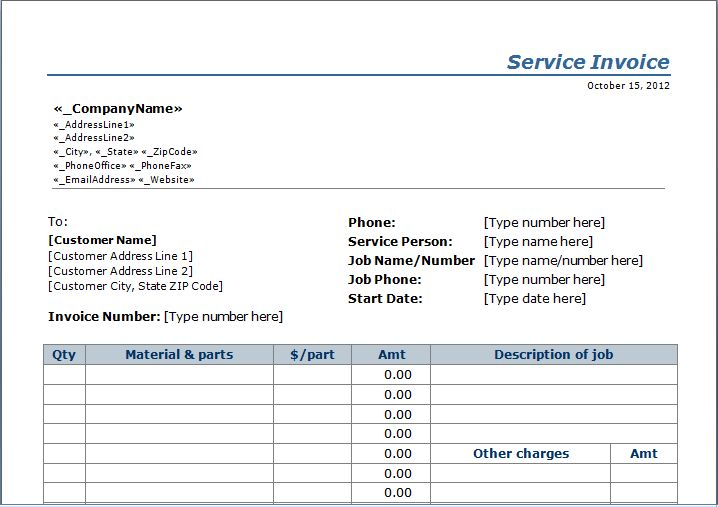 sample invoices for services rendered
