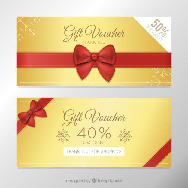 Red and golden gift voucher pack | free vectors | UI Download