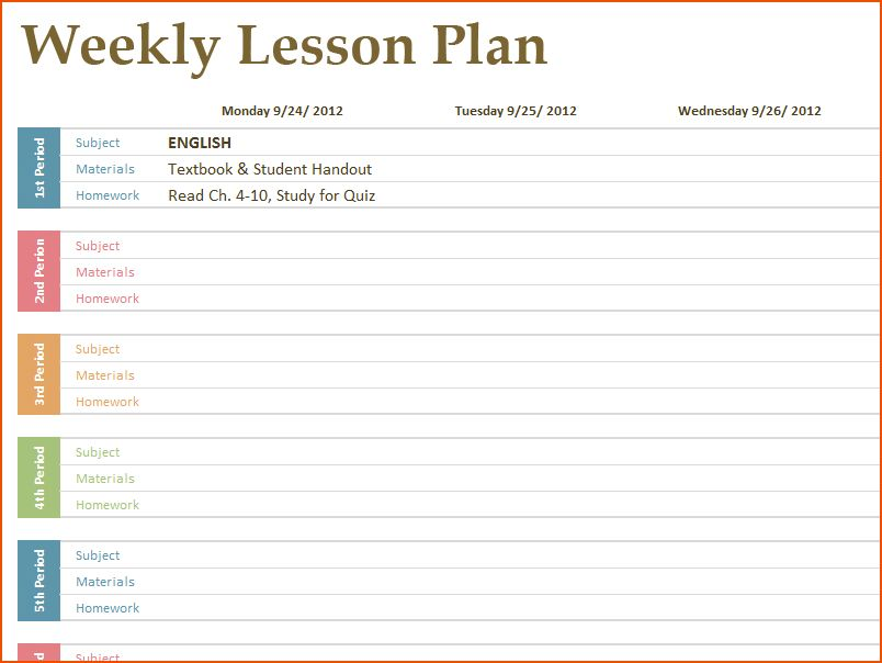 free printable lesson plans template