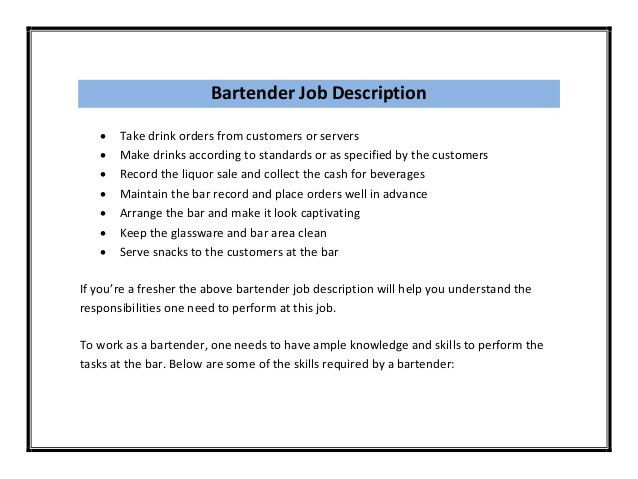 Bartending Resume Template. Entry Level Bartender Resume Bartender ...
