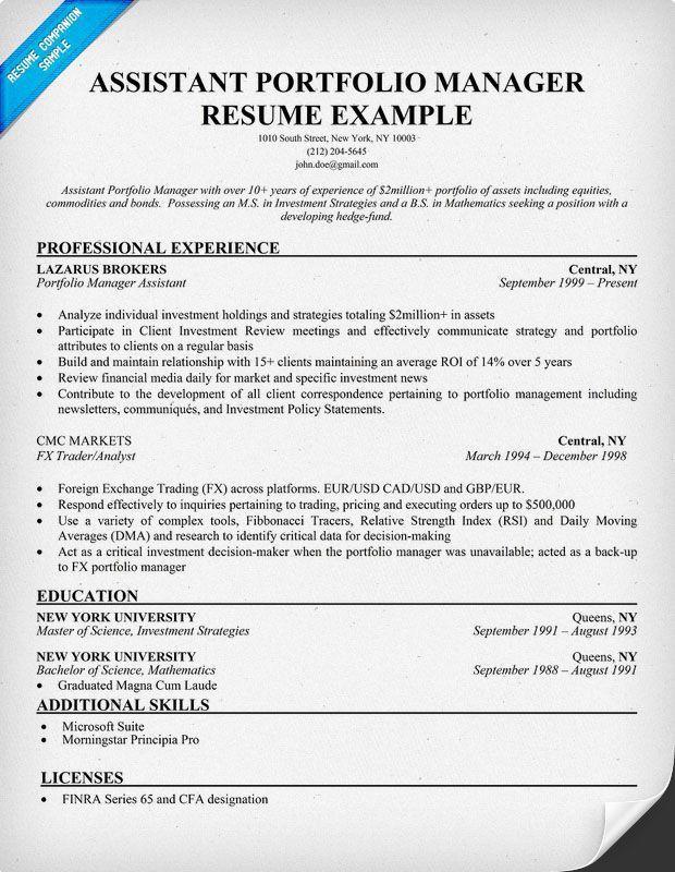 Portfolio Manager Resume - Template Examples
