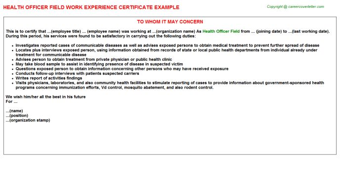 Health Officer Field Work Experience Certificate