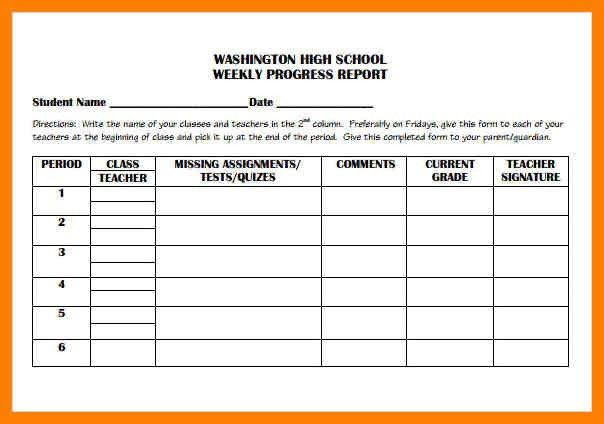 5+ weekly progress report template middle school | joblettered